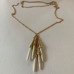 Long Gold Chain with White Dangles Necklace
